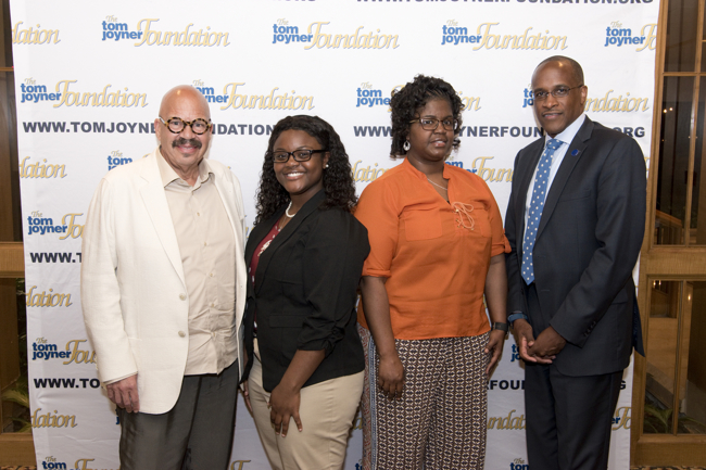 From left: Tom Joyner, Full Ride Scholarship Finalist Daudreanna Baker, her mother and Dillard University President Dr. Walter Kimbrough. (Photo: Jesse Hornbuckle)